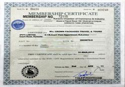 Membership Certificate of KCCI Crown Packages